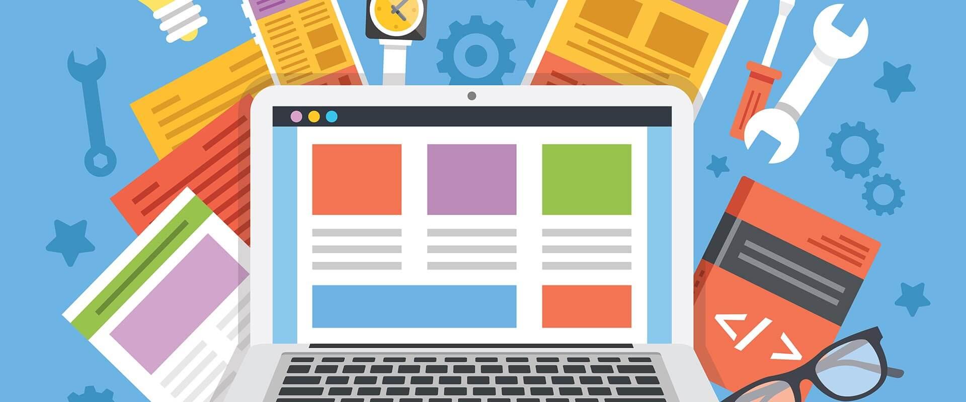 Symbolisches Eingangsbild für die Unterseite Webdesign, welche einen Laptop zeigt auf dem eine skizzierte Webseite zu sehen ist. Im Hintergrund befinden sich unterschiedliche Werkzeuge, ein Buch zu dem Thema Programmieren und viele Darstellungsoptionen einer Webseite.