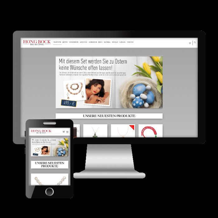 Symbolbild für die Desktop- und Mobilversion des neuen Onlineshops von Hong-Bock